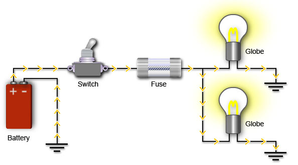 Diagram Showing Circuit With A Closed Switch Allowing Current To Flow Through The And Globes